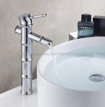 Basin Faucets Chrome Bamboo Bathroom Faucet Gold Mixer Tap Single Handle Hot & Cold Washbasin Tap Knf047 kemaidi new hand painted gold bathroom washbasin bath set faucet mixer taps tempered glass basin veseel faucets chrome finished