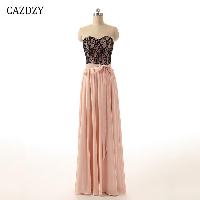 CAZDZY A Line Sweetheart Lace Bridesmaid Dresses Chiffon Women Dress Floor Length  Sleeveless Wedding Party Dress with Sashes 0bc7cfe04b46
