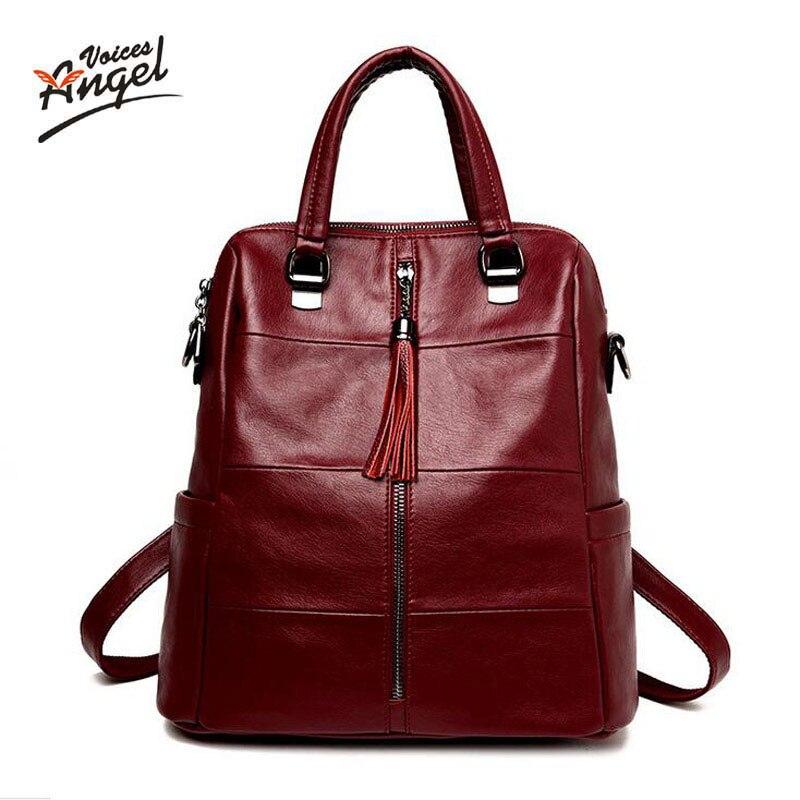 Женский рюкзак из натуральной кожи для девочек-подростков, школьный рюкзак с кисточками, женские рюкзаки для студентов колледжа, синий, чер...