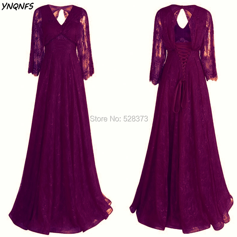 Enthusiastic Ynqnfs Md150 Elegant V Neck Burgundy/purple/red Long Mother Of The Bride/groom Lace Dresses Outfits 3/4 Sleeves Guest Party Robe Suitable For Men And Women Of All Ages In All Seasons