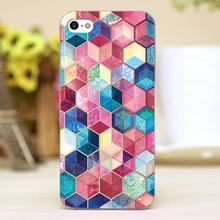 Topaz Ruby Crystal Honeycomb Cubes Design transparent case cover cell mobile phone cases for iphone 4