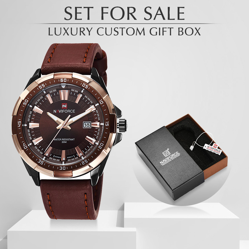 Mens Watches NAVIFORCE Top Luxury Brand Fashion Sports Men Watches Waterproof Quartz Man Clock Wrist Watch With Box Set For Sale