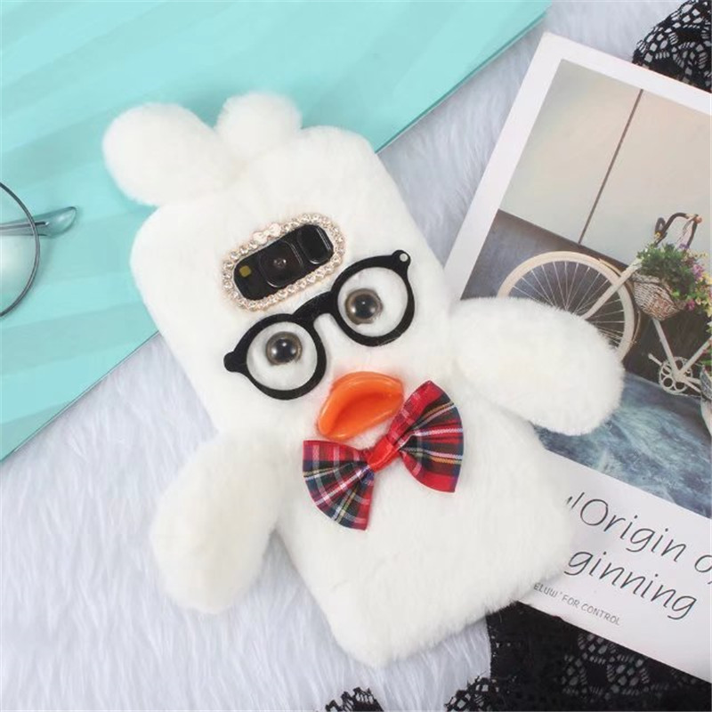 Bosilang Hyaluronic Duck Pattern Fur Coated Rhinestone TPU Shell Phone For Samsung Galaxy S8 Case cover