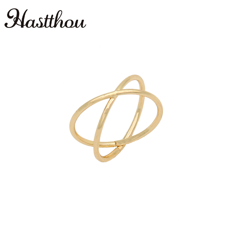 HASTTHOU Intersect Cross Stereoscopic Women Rings Zinc Alloy Gold Silver Fashion Rings Womens Rings