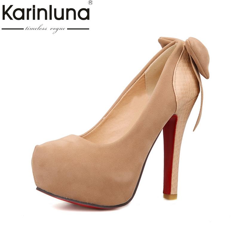 Karinluna Women's Sweet Bowtie Shoes Woman Sexy High Heels Round Toe Party Wedding Platform Pumps Big Size 33-46 new luxury wedding shoes women high heels platform shoes woman round toe performance stage shoes beige pearl big size high pumps