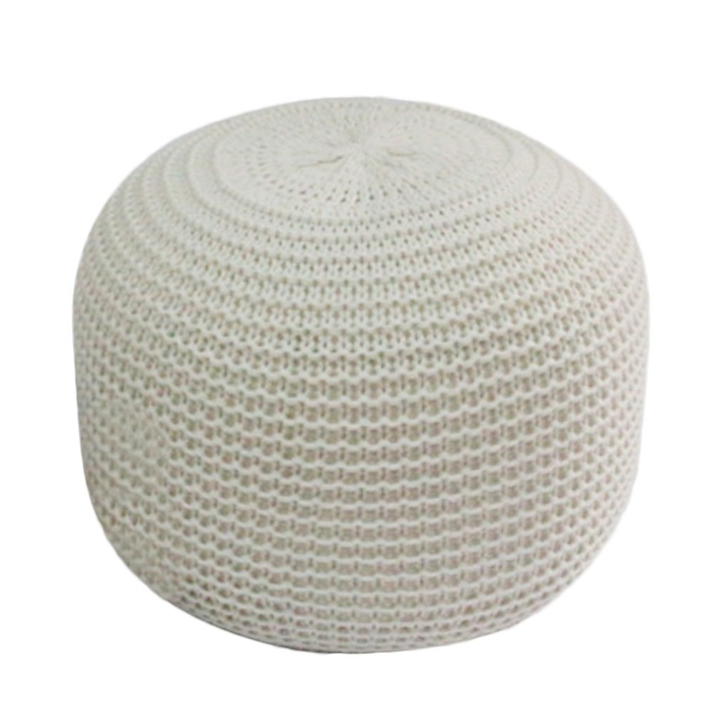 цены Large Comfortable Cushion Stool Handmade Chunky Knit Round Foot Stool Pouffe Cushion Home Decorative Furniture 400x400x300mm