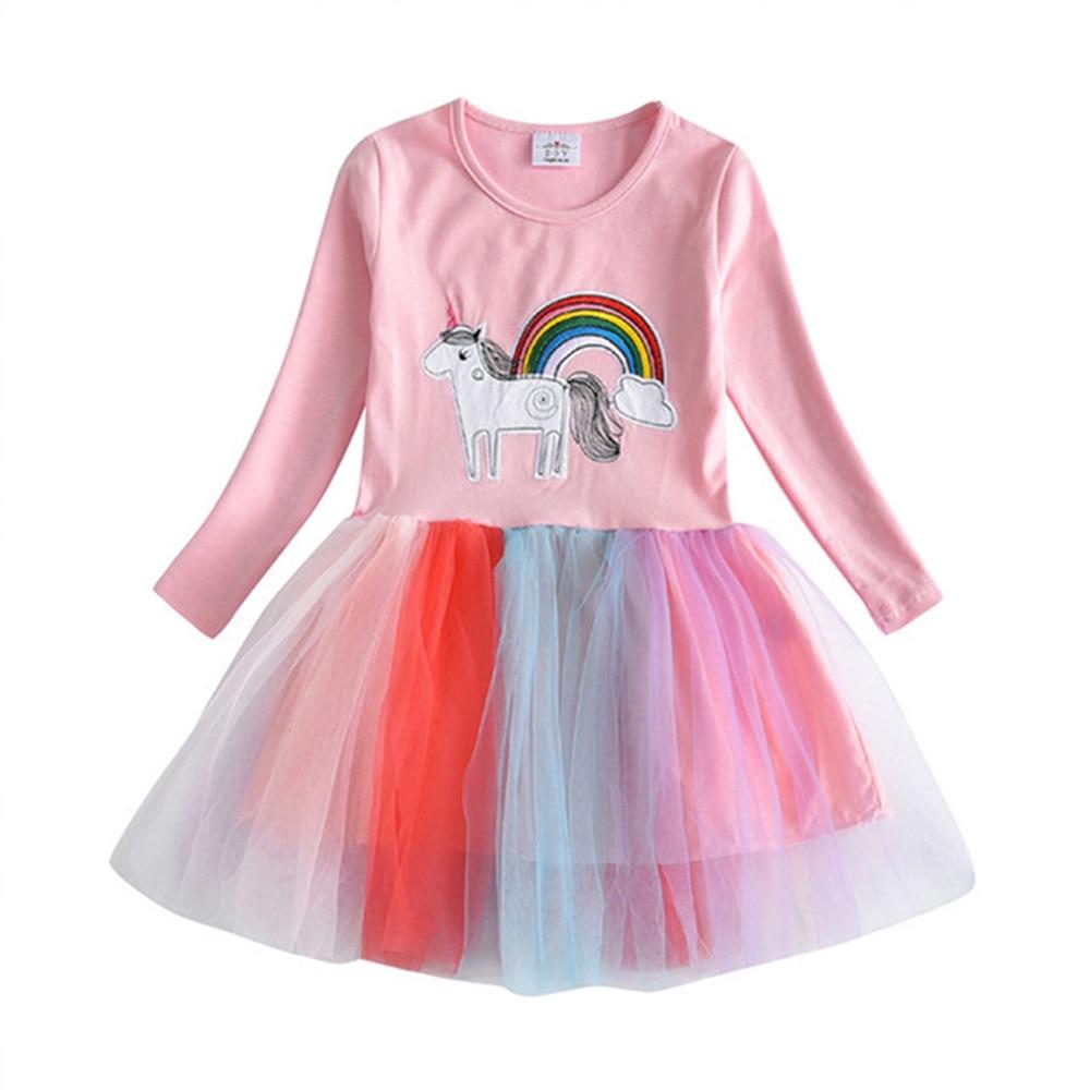 HTB1 MFgQr2pK1RjSZFsq6yNlXXau VIKITA Girls Dress Long Sleeve Kids Flower Dresses Children Unicorn Vestidos 2019 Girls Dresses Autumn Kids Dress For Girl