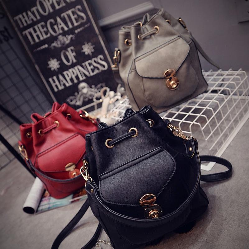 Free shipping Fashion 2017 all-match bucket bag with lock pu leather shoulder bag women's handbags women`s leather bag цена и фото