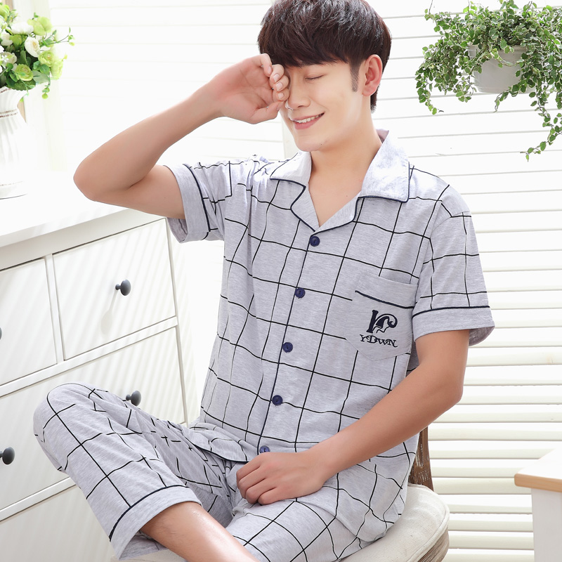 Mens Pyjamas Summer Short Sleeve Cotton Sleepwear  Men's Sleep Lounge Pajama Set Trousers Plaid
