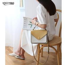 VENOF luxury handbags women bags designer split leather messenger bags elegant ladies shoulder bag crossbody bag for women 2019 недорого