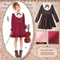 2016 autumn Violin performance sweet women's vintage embroidery ruffled princess full sleeve dress slim body line Costume dress