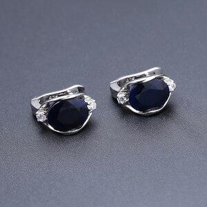 Image 2 - GEMS בלט טבעי כחול ספיר חן טבעת תכשיטי עגילי סט לנשים 925 סטרלינג כסף Gorgeou אירוסין תכשיטים