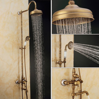 Bathroom Antique Ceramic And Carved Shower Set Faucet Brass Mixer Tap Dual Handles Rainfall Shower Set