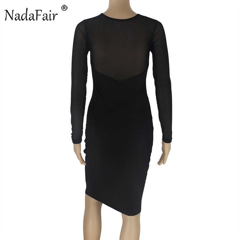 Nadafair с низким вырезом из сетчатой ткани с длинным рукавом сексуальное облегающее Клубное платье женский, черный элегантное миди вечерние платья