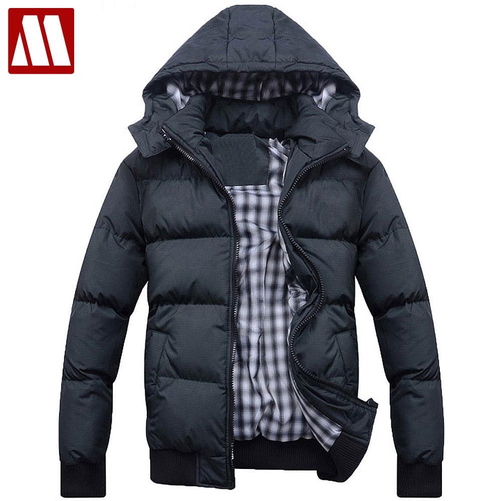 Лидер продаж Новая модная Повседневная зимняя куртка для мужчин хлопка-ватник с капюшоном мужская Куртки темно-зеленый/светло-серый Азии S ...