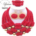 African Wedding Bridal Costume Jewelry Sets Nigerian Beads Crystal Red Opaque laanc AL029