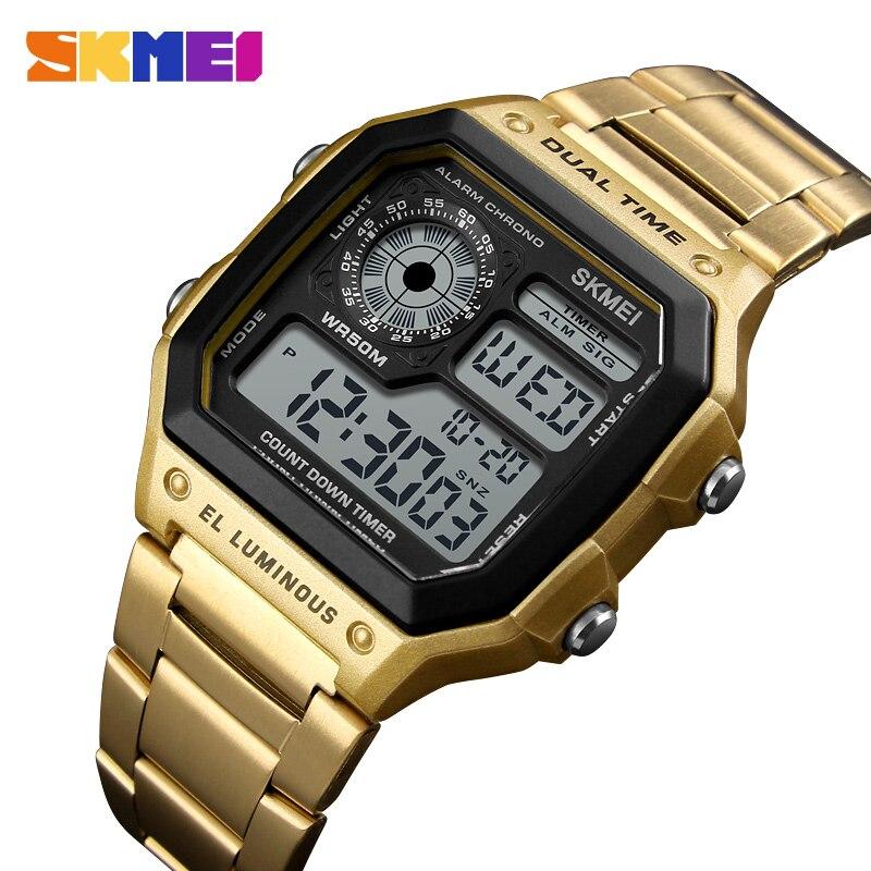 SKMEI Trend Designer Stainless Steel Men Watch Square Countdown Business Bracelet Clasp Digital Wristwatch Shock Resistant 1335