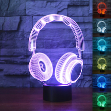 3D DJ Headphone Illlusion Lamp Studio Monitor Headset hifi Music Earphone 3d Night Light Color bedroom Table Lamp Home decor led