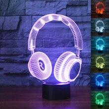 3D DJ ヘッドホン Illlusion ランプスタジオモニターヘッドセットハイファイ音楽イヤホン 3d 夜の光色の寝室のテーブルランプ家の装飾 led
