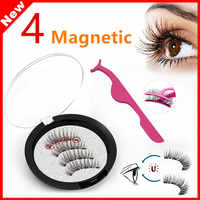 Magnetic Eyelashes 4 Magnets 3D Natural Long New Style 4 Magnetic Handmade Eyelashes Long Lasting False Eyelashes Magnet Lashes