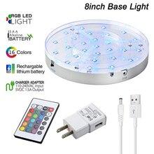 Glass hookah shisha light RGB colorful 8inch LED Base batter