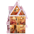 Doll House DIY Wooden Furniture Handmade 3D Miniature Dollhouse Toys birthday gift  children's dream house PUZZLE game toy