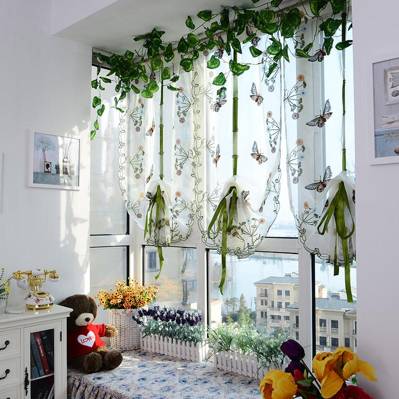 Butterfly Pattern Door Roman Window Scarf Sheer Floral Curtain Drape Panel Voile Blinds ShuttersChina