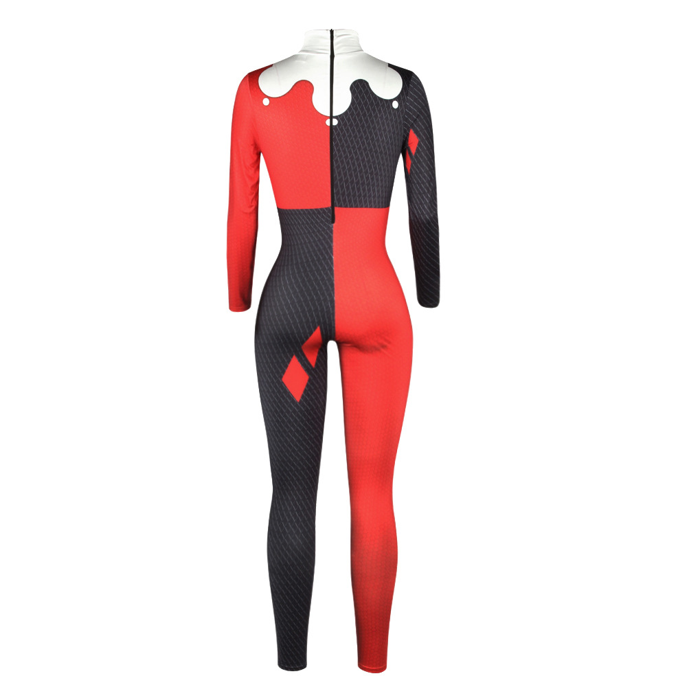 Image 3 - Suicide Squad Harley Quinn Jumpsuit Catsuit Sexy Cosplay Costumes Halloween Women Bodysuit Fancy Dress-in Movie & TV costumes from Novelty & Special Use