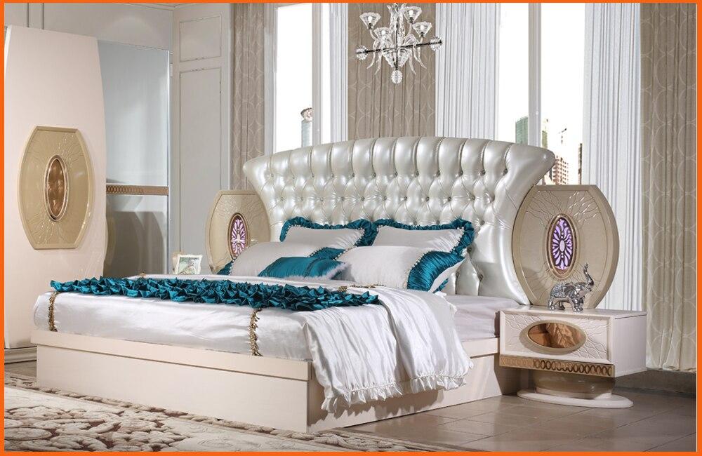 Ensemble de chambre à coucher de meubles Quarto Real nouveau Design haute qualité prix bas lit King Size, table de nuit, armoire, commode, ensemble de chambre