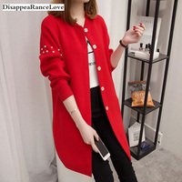 2019 DRL autumn and winter medium long sweater beading rivets female cardigan loose soild O neck sweater top fashion outerwear