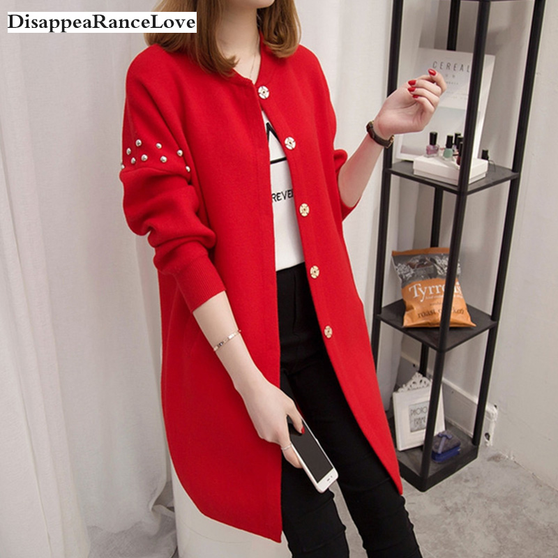 2019 DRL Autumn And Winter Medium-long Sweater Beading Rivets Female Cardigan Loose Soild O-neck Sweater Top Fashion Outerwear