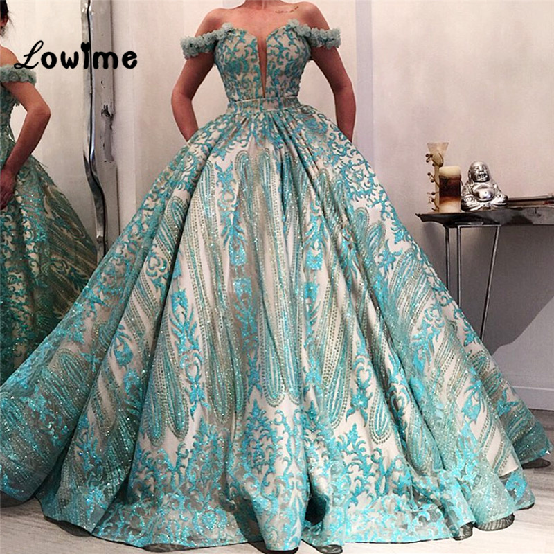 Newest 2018 Puffy   Prom     Dresses   Off Shoulder Arabic Evening Gowns Gala Jurken Couture Dubai Abaya Pageant Party   Dress   For Wedding