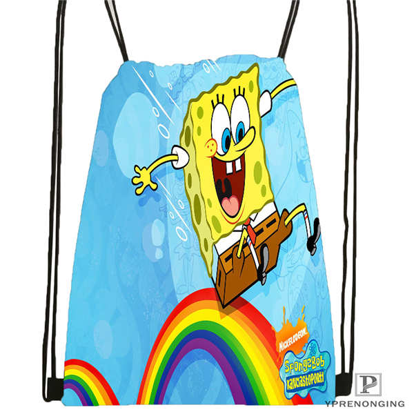 Custom Bob-esponja- Drawstring Backpack Bag Cute Daypack Kids Satchel (Black Back) 31x40cm#180611-01-18