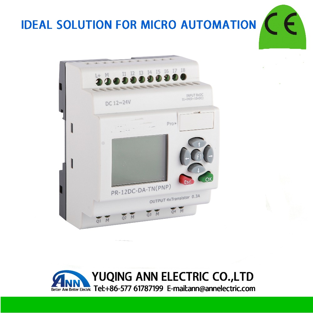 PR-12DC-DA-TN with LCD, without cable Programmable logic controller,smart relay,Micro PLC controller , CE ROHS цена
