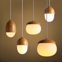 DIY Decoration Lighting Vintage Ceiling Lamp Multi Types Imitation Wood Glass Pendant Lamp