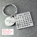 Solid Silver Personalized Calendar Tag Key Chain Custom Memorial Date Love Heart Round Tag Keepsake Jewelry Father Gift