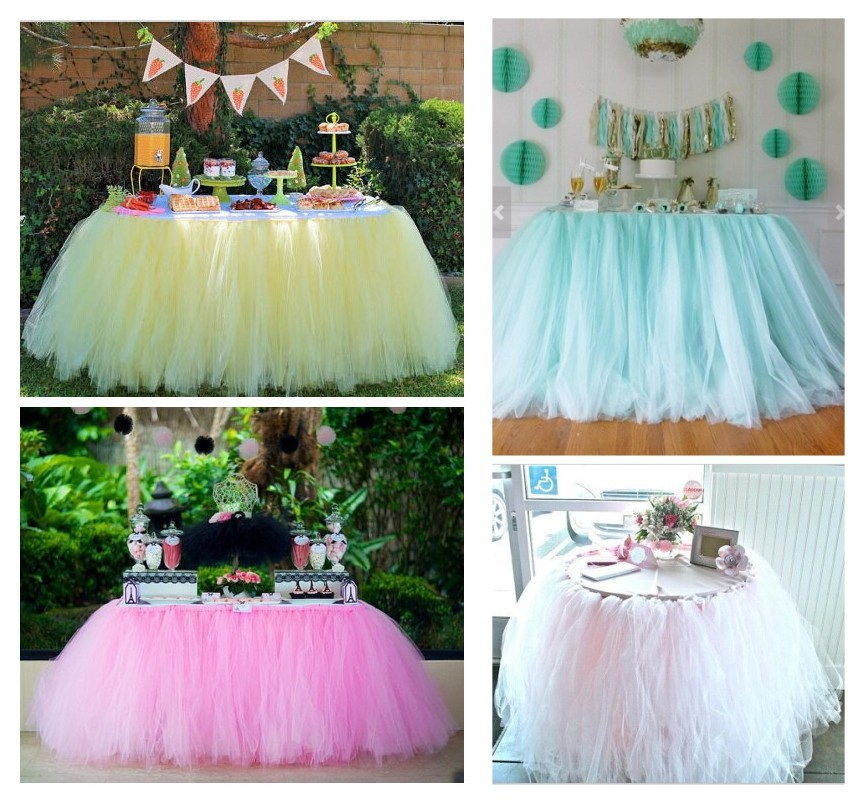 Yellow Tulle Table Tutu Skirt For Wedding Evening Birthday Party Candy Buffet Handmade Customize On Aliexpress