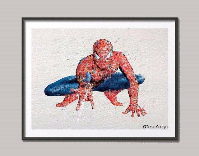Us 7 79 40 Off Original Aquarell Spiderman Superhero Poster Drucken Bilder Leinwand Malerei Wandkunst Kinderzimmer Dekoration Wandaufkleber In