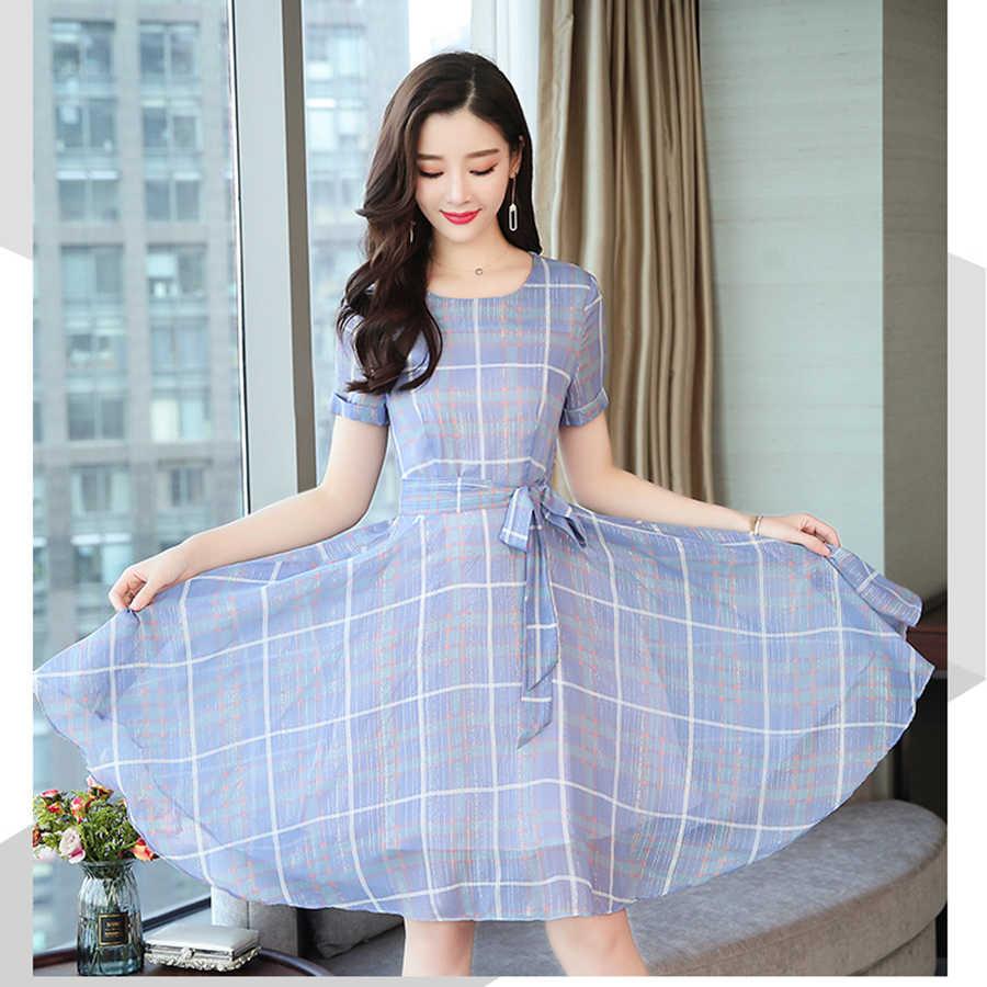 2019 корейские винтажные Большие размеры Boho Midi платья летние новые клетчатые шифоновые пляжные сарафаны элегантные женские вечерние платья с коротким рукавом Vestido