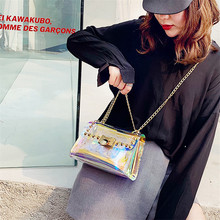 купить TOYOOSKY Women Summer Beach Bag PVC Clear Transparent Shoulder Bags Ladies Small Flap Bag Hologram Laser Rivet Handbags Brand по цене 1104.81 рублей