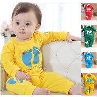 חליפת תינוקת חדשה Boys & Girls סט רגליים קטנות להגדיר אביב סתיו בחולצת טריקו + מכנסיים 2 יחידות סטי אור כחול ירוק אדום צהוב 1-3 בת