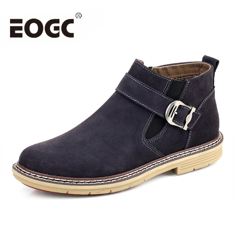 Fashion Cow Suede Men boots Autumn winter Men Ankle Boots Size 38-46 Top quality men Chelsea Boots Outdoor Casual Winter Shoes цена 2017