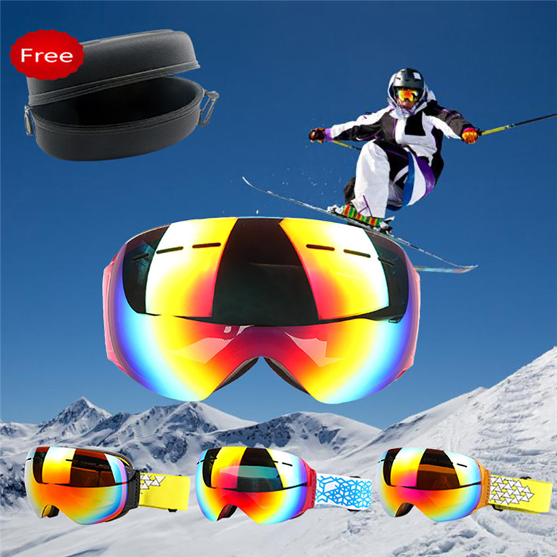 Новый Спортивные очки Лыжный спорт Сноуборд снегоход Анти-туман очки ветрозащитный пыле Очки кататься на лыжах Солнцезащитные очки для жен...