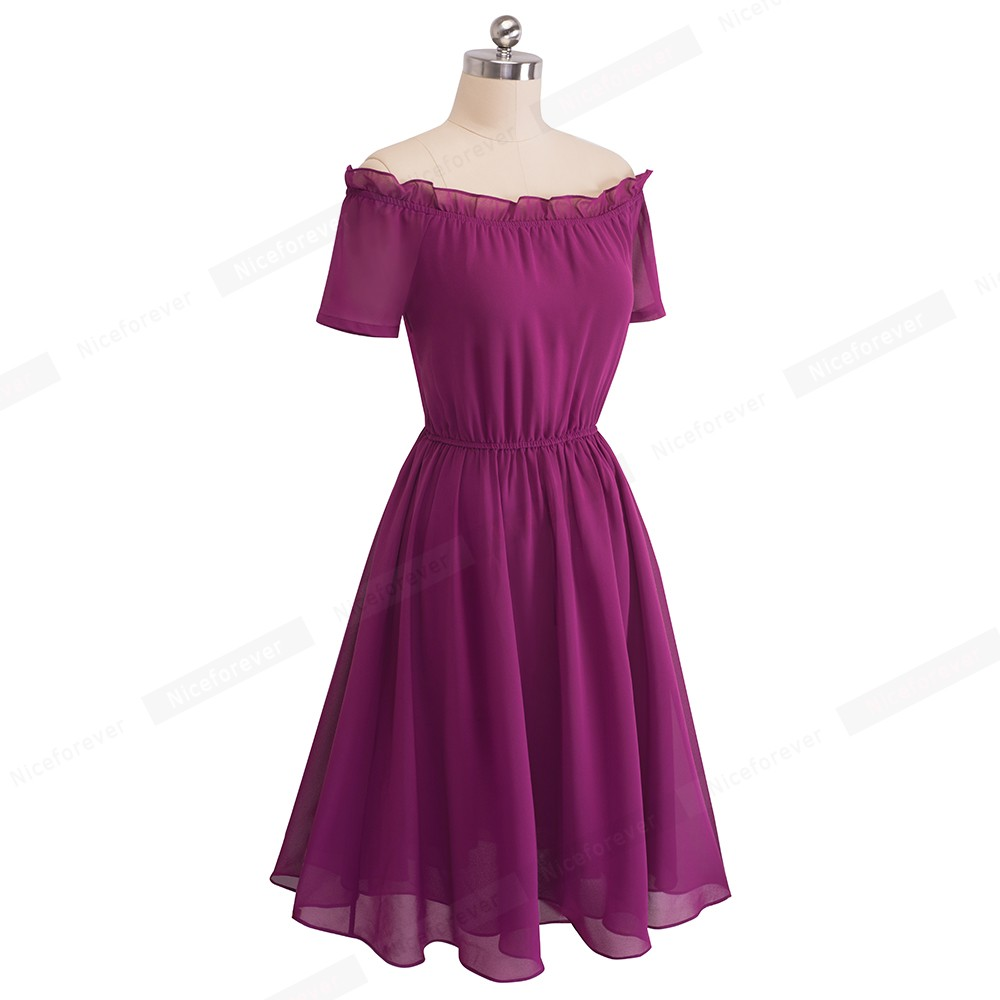 16eb80d3a5 Women Elegant Chiffon Party Dress Vintage Ruffles Sexy Off The Shoulder Flowing  Summer Dress HA035-in Dresses from Women s Clothing on Aliexpress.com ...