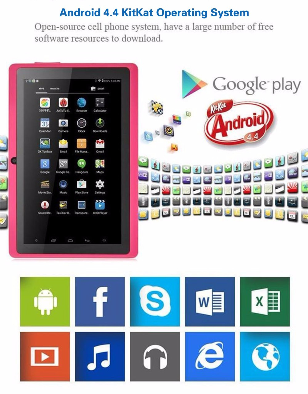 7 Inch Tablet Computer Android 4.4 Quad Core  8GB Children Learn Computers Functional Bluetooth Wi-Fi Tablet PC