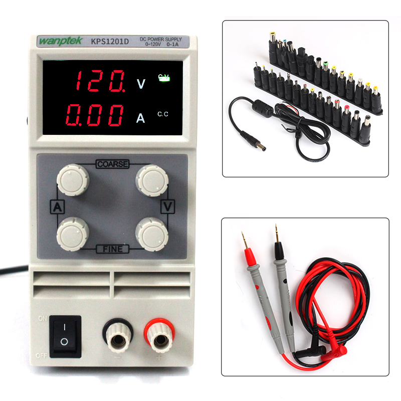 DC Power Supply Variable,KPS1201D Adjustable Switching Regulated Power Supply Digital, 0-120V 0-1A with Probe Test Leads Power rps3020d 2 digital dc power adjustable power 30v 20a power supply linear power notebook maintenance