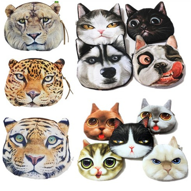 Casual Animal Coin Wallet Female Mini Coins Bag Brand 3d Cat A Lady's Purse Children Big Purses Women Clutch Wholesale new brand mini cute coin purses cheap casual pu leather purse for coins children wallet girls small pouch women bags cb0033