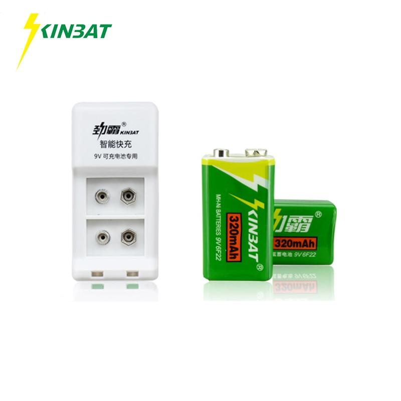 KINBAT 2pcs 320mAh 9V 6F22 Ni MH Rechargeable Battery 9 Volt NiMH Batteries With Intelligent Battery