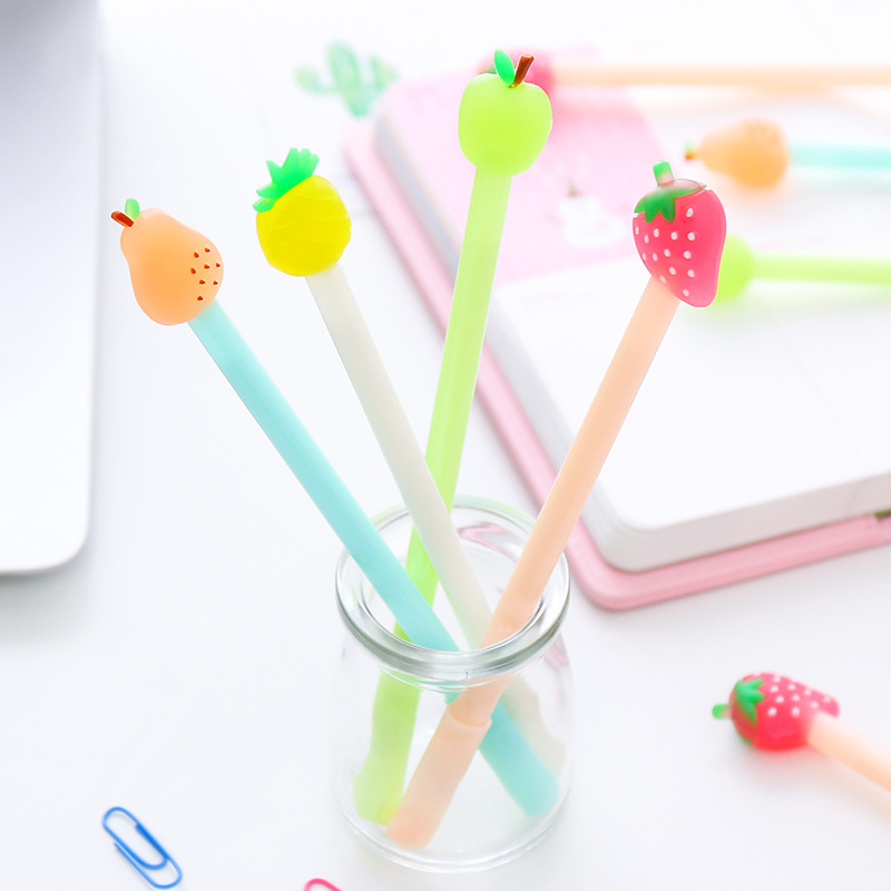 Cute fruit gel pen for writing signature Black Luminous pen caneta Stationey Office accessories school supplies papelaria