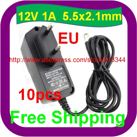 <font><b>10</b></font> pcs Free Shipping 12V 1A 1000mA EU Plug Adapter For 3528 <font><b>5050</b></font> Strip LED image
